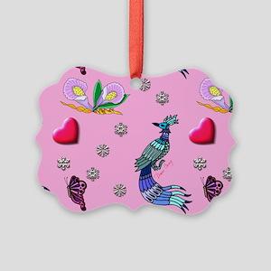 Hearts & Peacocks Picture Ornament