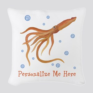 Personalized Squid Woven Throw Pillow