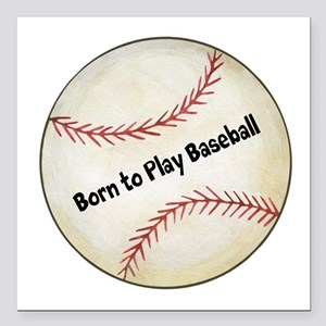 "Personalized Baseball Square Car Magnet 3"" x 3"""