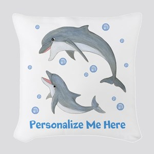 Personalized Dolphin Woven Throw Pillow