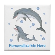 Personalized Dolphin Tile Coaster