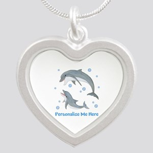 Personalized Dolphin Silver Heart Necklace