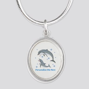 Personalized Dolphin Silver Oval Necklace