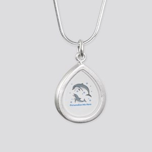 Personalized Dolphin Silver Teardrop Necklace