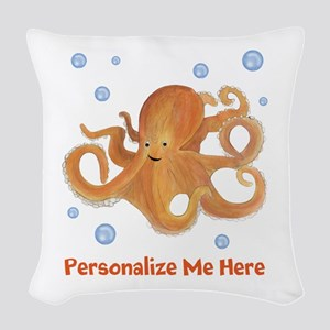 Personalized Octopus Woven Throw Pillow