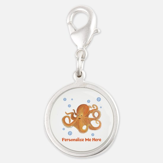 Personalized Octopus Silver Round Charm
