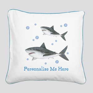 Personalized Shark Square Canvas Pillow
