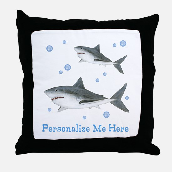 Personalized Shark Throw Pillow