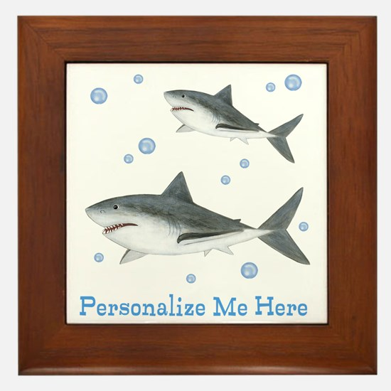 Personalized Shark Framed Tile