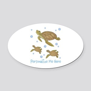 Personalized Sea Turtles Oval Car Magnet