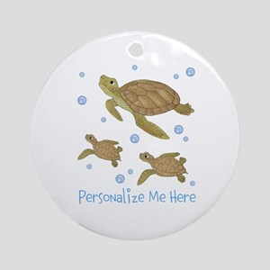 Personalized Sea Turtles Ornament (Round)