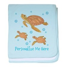 Personalized Sea Turtles baby blanket