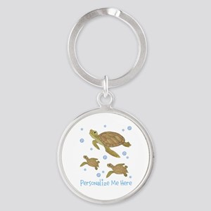 Personalized Sea Turtles Round Keychain