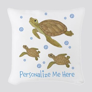 Personalized Sea Turtles Woven Throw Pillow
