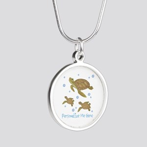 Personalized Sea Turtles Silver Round Necklace