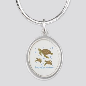 Personalized Sea Turtles Silver Oval Necklace