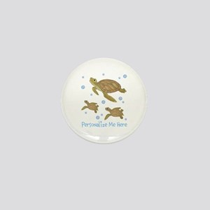 Personalized Sea Turtles Mini Button