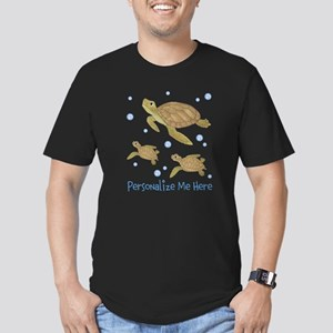 Personalized Sea Turtles Men's Fitted T-Shirt (dar