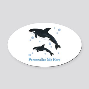 Personalized Killer Whale Oval Car Magnet
