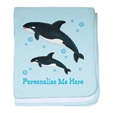Personalized Killer Whale baby blanket