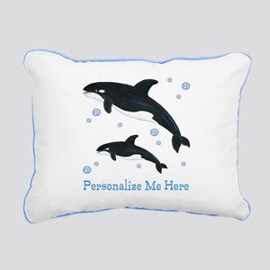Personalized Killer Whale Rectangular Canvas Pillo