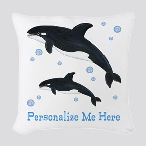 Personalized Killer Whale Woven Throw Pillow