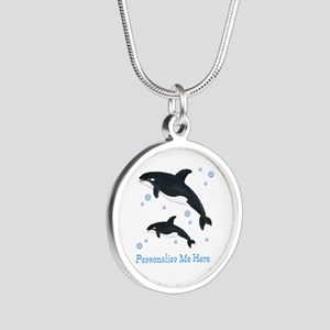 Personalized Killer Whale Silver Round Necklace