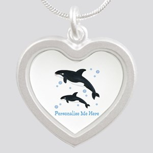 Personalized Killer Whale Silver Heart Necklace