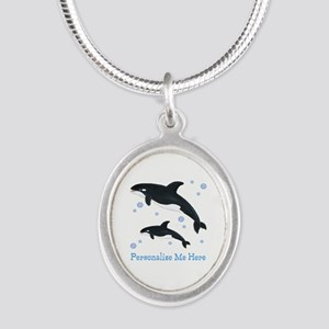 Personalized Killer Whale Silver Oval Necklace