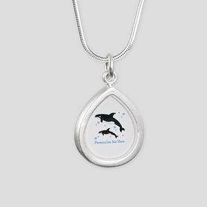 Personalized Killer Whale Silver Teardrop Necklace