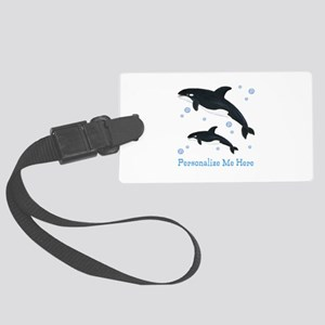 Personalized Killer Whale Large Luggage Tag