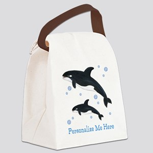 Personalized Killer Whale Canvas Lunch Bag