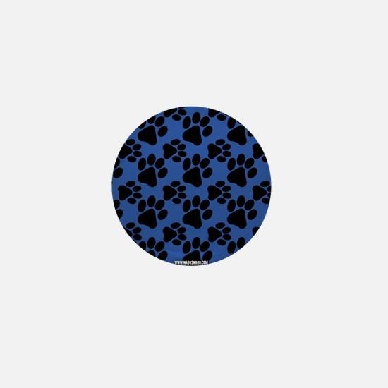 Cute Dog Paw Purple Black Mini Button