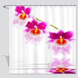 Oncidium Pink And White Orchids Shower Curtain