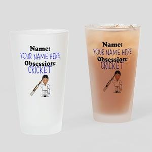 Custom Cricket Obsession Drinking Glass