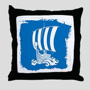 Viking Ship on Blue. Throw Pillow