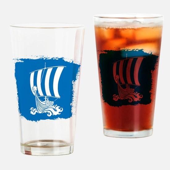 Viking Ship on Blue. Drinking Glass