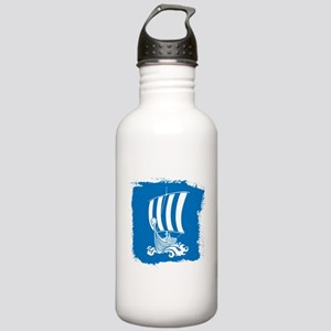Viking Ship on Blue. Water Bottle