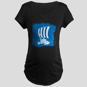 Viking Ship on Blue. Maternity T-Shirt