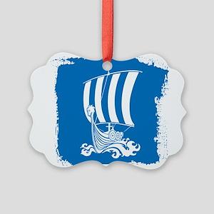 Viking Ship on Blue. Ornament