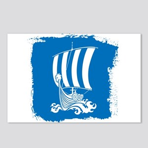 Viking Ship on Blue. Postcards (Package of 8)