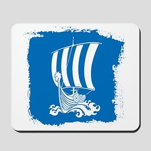 Viking Ship on Blue. Mousepad