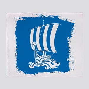 Viking Ship on Blue. Throw Blanket