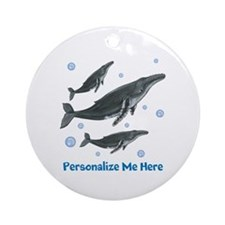 Personalized Humpback Whale Ornament (Round)