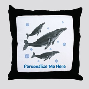 Personalized Humpback Whale Throw Pillow