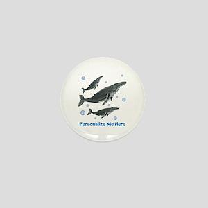 Personalized Humpback Whale Mini Button