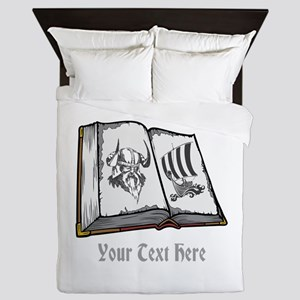 Viking Book and Text. Queen Duvet