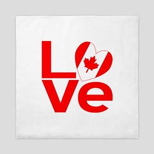 Red Canadian LOVE Queen Duvet