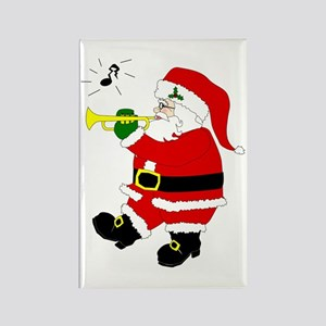 Santa Plays Trumpet Rectangle Magnet