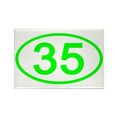 Number 35 Oval Rectangle Magnet (10 pack)